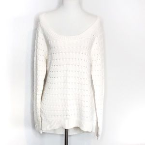 BCBGeneration White Knit Scoop Neck Sweater Large